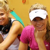 Isabella Holland and Belinda Woolcock take a break from fitness training. Tennis Australia.