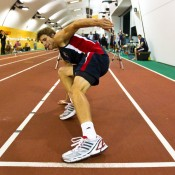 Ben Mitchell stretches during an agility test at the AIS. Tennis Australia.