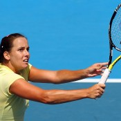 Jarmila Groth hits a volley. Getty Images
