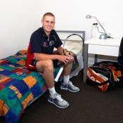 Luke Saville shows off his living quarters at the AIS. Tennis Australia.