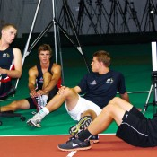 Luke Saville, Ben Mitchell, James Duckworth and Maverick Banes gather for a chat. Tennis Australia.