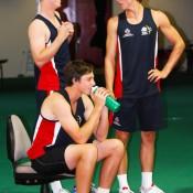 Luke Saville, Ben Mitchell and Andrew Whittington take a break from their fitness session. Tennis Australia.