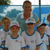 Sam poses with some young fans. TENNIS AUSTRALIA