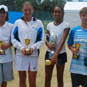Optus Nationals Grasscourt winners and finalists (l to r): Alexei Popyrin, Michelle Pits, Naiktha Bains and Omar Jasika.