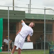 Brydan Klein serves during his first round match at the Caloundra Tennis International. Photo: Rob Hamilton