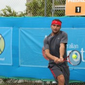 Top seed Marinko Matosevic in action at Caloundra. Photo: Rob Hamilton