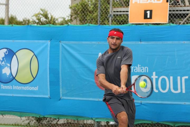 Top seed Marinko Matosevic in action at Caloundra. Photo: Rob Hamilton, Tennis.com.au
