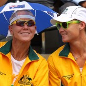 Fed Cup or funny hat day? A bit of both for Rennae Stubbs and Sam Stosur. Getty Images
