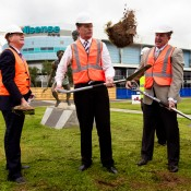 25th of March 2011. Denis Napthine, Ted Baillieu and Hugh Delahunty officially launch the next phase of Melbourne Park redevelopment. Tennis Australia.