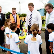 25th of March 2011. Steve Wood, Denis Napthine, Ted Baillieu and Hugh Delahunty enjoy a hit with Hot Shots players  at the launch of the next phase of Melbourne Park redevelopment. Mark Riedy.