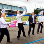 25th of March 2011. Denis Napthine, Ted Baillieu, Steve Wood and Hugh Delahunty enjoy a hit with Hot Shots players  at the launch of the next phase of Melbourne Park redevelopment. Tennis Australia.