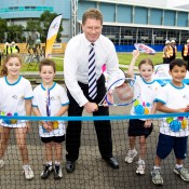 25th of March 2011. Ted Baillieu enjoys a hit with Hot Shots players  at the launch of the next phase of Melbourne Park redevelopment. Tennis Australia.