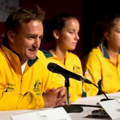 13th of April 2011. Dave Taylor answers media questions at the Australia v Ukraine Federation Cup tie press conference. Mark Riedy.