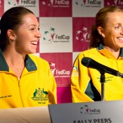 13th of April 2011. Sally Peers answers media questions at the Australia v Ukraine Federation Cup tie press conference. Mark Riedy.