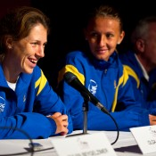 13th of April 2011. Olga Savchuk answers media questions at the Australia v Ukraine Federation Cup tie press conference. Mark Riedy.