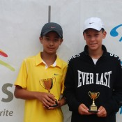 2011 Optus 12s National Championships - Boys Singles Finalists - Richard Yang from Victoria (left) came from a set down to defeat second seed, Mislav Bosnjak from SA (right) in the boys singles final. Francis Soyer.