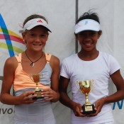 2011 Optus 12s National Championships - Girls Singles Finalists - Sasha Bollweg from WA (left) was runner-up to Destanee Aiava from Victoria (right). Francis Soyer.