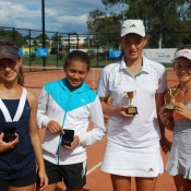2011 Optus 12s National Championships - Girls Doubles Finalists - From left - Monique Belovukovic from NSW, Amne Ghamroui from MSW, Michelle Pits from Victoria and Sasha Bollweg.  Francis Soyer.
