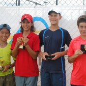 2011 Optus 12s National Championships - Boys Doubles - From left - Chase Ferguson, Alexei Popyrin, Mislav Bosnjak and Lliam Bishop. Francis Soyer.