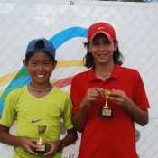 2011 Optus 12s National Championships - Boys Doubles Champions - Chase Ferguson from Victoria (left) and Alexei Popyrin from New South Wales (right). Francis Soyer.