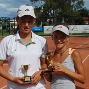 2011 Optus 12s National Championships - Girls Doubles Champions - Michelle Pits from Victoria (left) and Sasha Bollweg (right). Francis Soyer.
