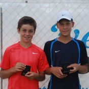 2011 Optus 12s National Championships - Boys Doubles Finalists - Lliam Bishop (left) and Mislav Bosnjak (right) from South Australia. Francis Soyer.