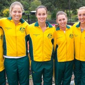 The Australian Fed Cup team gather ahead of their tie against Ukraine (l to r:) Captain Dave Taylor, Sophie Ferguson, Jarmila Groth, Sally Peers, Anastasia Rodionova and coach Nicole Bradtke. Photo: Tennis Australia