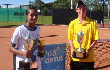 2011 Optus 16s National Claycourt Champions (l to r:) Naiktha Bains and Rhys Johnson