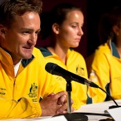 Australian Fed Cup Captain Dave Taylor faces the media ahead of his team's tie against Ukraine. Photo: Tennis Australia