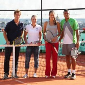 Richard Gasquet, Sam Stosur, Ana Ivanovic and Jo Wilfried Tsonga on the rooftop of Galeries Lafayette. Ron Angle.