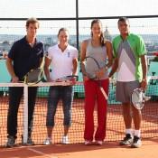 Richard Gasquet, Sam Stosur, Ana Ivanovic and Jo Wilfried Tsonga on the rooftop of Galeries Lafayette. Ron Angle.