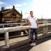 Sam Stosur on the rooftop of Galeries Lafayette. Ron Angle.