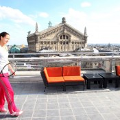 Ana Ivanovic on the rooftop of Galeries Lafayette. Ron Angle.