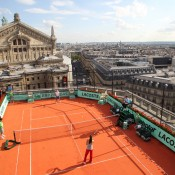 Sam Stosur and Ana Ivanovic on the rooftop of Galeries Lafayette. Ron Angle.