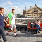 Richard Gasquet and Jo Wilfried Tsonga on the rooftop of Galeries Lafayette. Ron Angle.