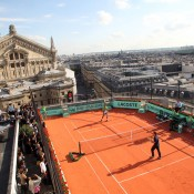 Jo Wilfried Tsong and Richard Gasquet on the rooftop of Galeries Lafayette. Ron Angle.
