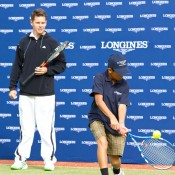 10th of May 2011. Todd Woodbridge watches Chase Ferguson at the Longines Future Tennis Aces launch. Mark Riedy.