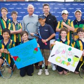 10th of May 2011. Neale Fraser, Todd Woodbridge and Chase Ferguson at the Longines Future Tennis Aces launch. Mark Riedy.