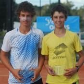 Boys' doubles winners Jack Schipanski (left) and Jordan Thompson. TENNIS AUSTRALIA