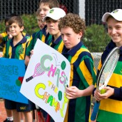 10th of May 2011. Clasmates support Chase Ferguson at the Longines Future Tennis Aces launch. Mark Riedy.