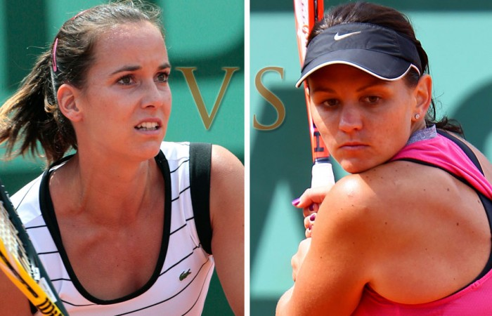 Jarmila Gajdosova and Casey Dellacqua wil meet in the French Open mixed doubles semifinals. AFP/GETTY IMAGES