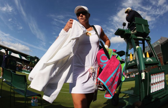 A shocked Sam Stosur exits the first round for the second year in a row. GETTY IMAGES