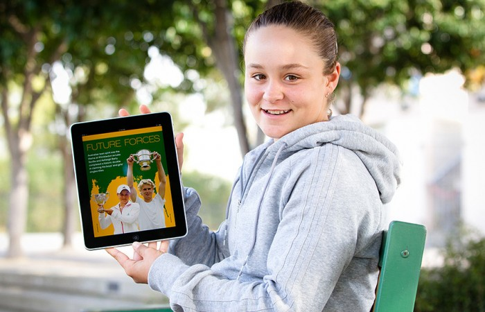 5th of August 2011. Ash Barty at Melbourne Park posing with the Australian Tennis Magazine iPad app featuring herself and Luke Saville. Mark Riedy.