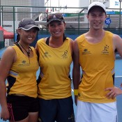 The Australian team at the World University Games (l to r:) Alison Bai, team manager Karen Butler and Sam Thompson.