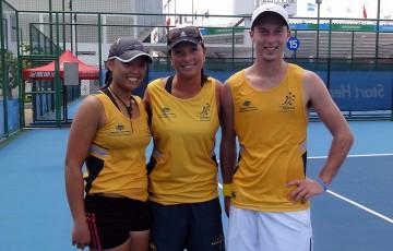 The Australian team at the World University Games (l to r:) Alison Bai, team manager Karen Butler and Sam Thompson.