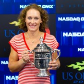 Sam Stosur photo opportunity and interviews at Times Square New York. Photo: Mark Riedy