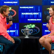 Mats Wilander (left) interviews Sam Stosur the morning after her US Open triumph. Photo: Mark Riedy