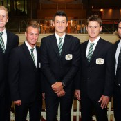 The Australian Davis Cup team lines up before the official dinner. GETTY IMAGES