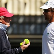 Tony Roche (left) and Pat Rafter. GETTY IMAGES