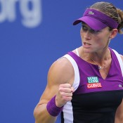 Stosur gets fired up after winning a point